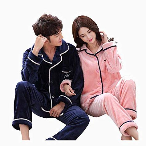 3bd48b3717 HUIFANG Pajamas Autumn and Winter Flannel Cardigan Home Clothes for Men and  Women Blue Pink Couple Pajamas (Color   Pink