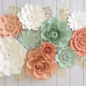Paper Flowers Wall Decor Paper Flowers For Girls Room Floral Nursery Blush Paper Flowers Nursery Decor Navy Paper Flowers In 2020 Paper Flower Wall Coral Mint Nursery Decor Flower Wall Decor