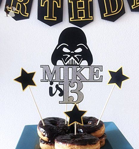 Super Darth Vader Cake Topper Custom Name Star Wars Toppers Star Wars Personalised Birthday Cards Fashionlily Jamesorg