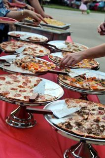 pizzas on catering buffet. Thought this might be a cool idea if we decide to have pizza.