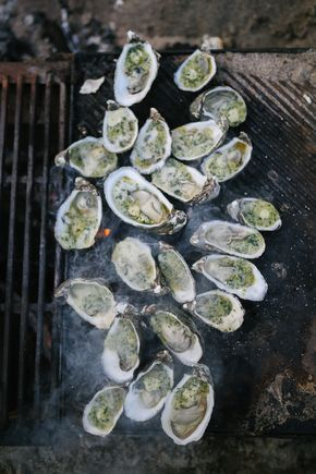 roasted oysters with stinging nettle butter - lean + meadow sunday oyster roast