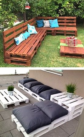 Pallet sofa furniture 8 Creative Up-cycled Pallet Ideas For The Garden - Container Water Gardens Pallet Garden Furniture, Outdoor Furniture Sets, Garden Pallet, Kitchen Furniture, Rustic Furniture, Antique Furniture, Furniture Stores, Furniture Layout, Cheap Furniture
