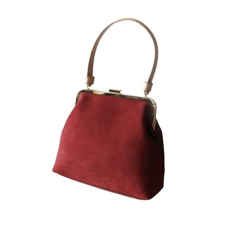 Burgundy Top Handle Leather Handbags Vintage Purse with Kiss Lock ... b24c17c28e