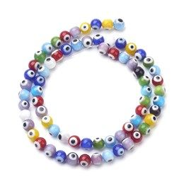 PandaHall Elite About 200 Pcs Millefiori Lampwork Glass Beads Circle Flat Round Spacer Bead Diameter 6mm 8mm 10mm 12mm for Jewelry Making Mixed Colors