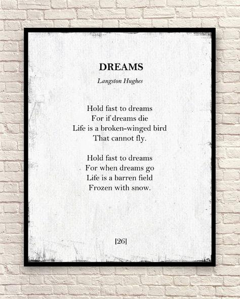 Dreams Poem Langston Hughes Print Langston Hughes Poem Poem