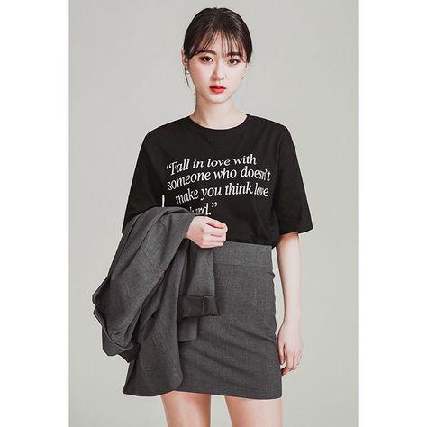 레터링 티셔츠, 크롭티와 자켓+스커트 조합은 사랑입니다..❤ 가격 알면 더 놀라실걸요😽