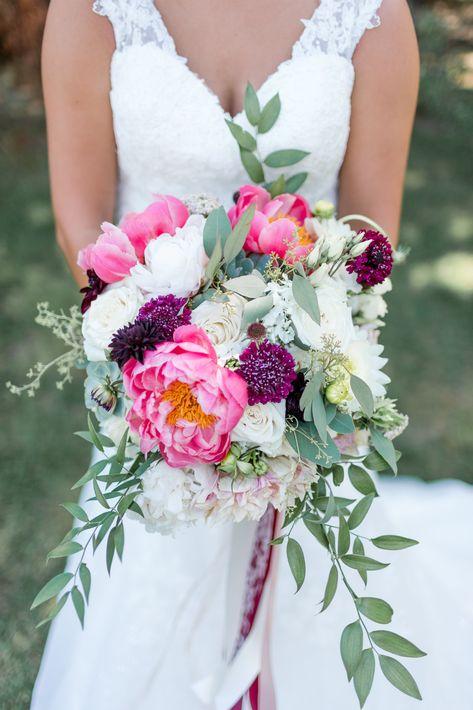 Gorgeous Bright Pink And Purple Summer Wedding Bouquet Purple