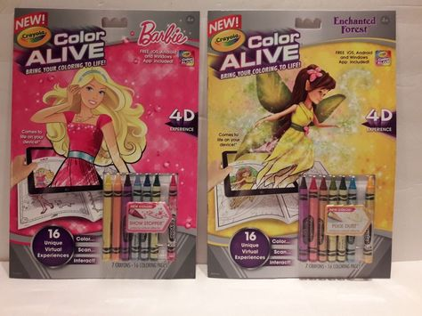 Crayola Color Alive 4D Coloring Book Lot Of 2 Barbie Enchanted Forest