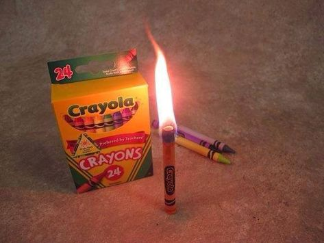 in an emergency, a crayon will burn for 30 minutes, guess I need to buy some crayons