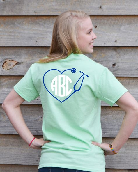 """Nurses will """"Love"""" this Preppy Monogram t-shirt from Under the Carolina Moon.  it features a heart shaped stethoscope and shows off their custom monogram! #nursesrock #nursemonogram #underthecarolinamoon"""