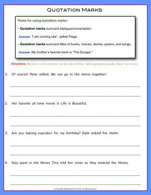 Worksheet Quotation Marks Rewrite Each Sentence Add Quotation Marks Where Necessary Punctuation Quotation Marks Quotation Marks Holiday Homework Quotation marks worksheets second grade
