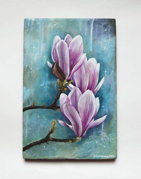 Magnolienmalerei Acrylmalerei Blumenmalerei Magnolienkunst