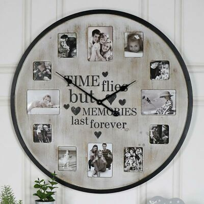 Extra Large Rustic Cream Wall Clock With Photograph Frame Family Photo Display Fashion Home Garde In 2020 Photo Wall Clocks Family Photo Wall Wall Clock Photo Frame