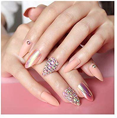 Amazon Com Press On Nails For Women 24 Pcs Stiletto False Nails 3d Diamond Fak Amazon Com Press On Nails For Women 24 In 2020 Press On Nails Fake Nails Nails
