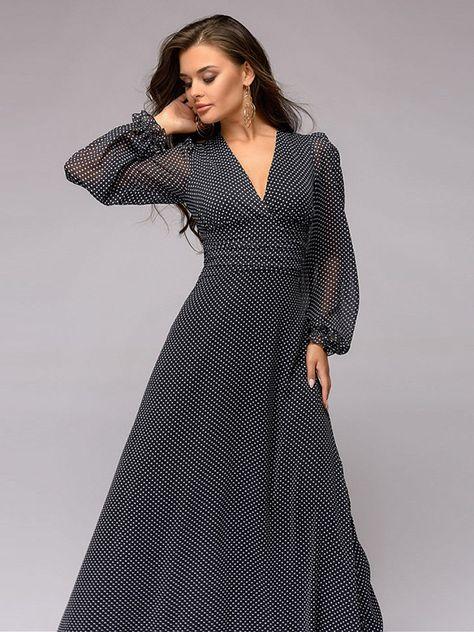 d623e2125a017 Shop - Black Polka Dots Printed V-neck Maxi Dress on Metisu.com. Discover  stylish and vogue women's dresses for the season. Regular discounts up to  60% off.