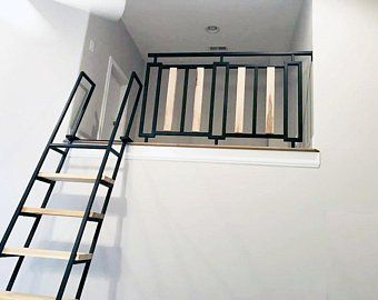 9 Foot Retractable Loft Ladder Free Shipping To Your Door Etsy Loft Railing Loft Ladder Loft