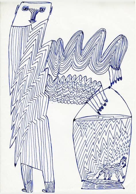 A Drawing By Ernst Kolb I Like Very Much The Strangely Parallel Serpentine Lines Used To Create This Figure Reminds Me Outsider Artists Visionary Art True Art