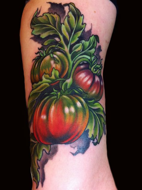 heirloom tomato tattoo Done by Jessi Lawson instagram- @Jessi_Lawson_Tattooer  www.JessiLawson.com