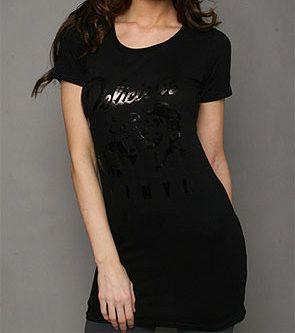 Delicious Night Out Women S Black Foil Delicious Vinyl Logo Long T Shirt Black Short Sleeve Dresses Dresses With Sleeves Black Shirt