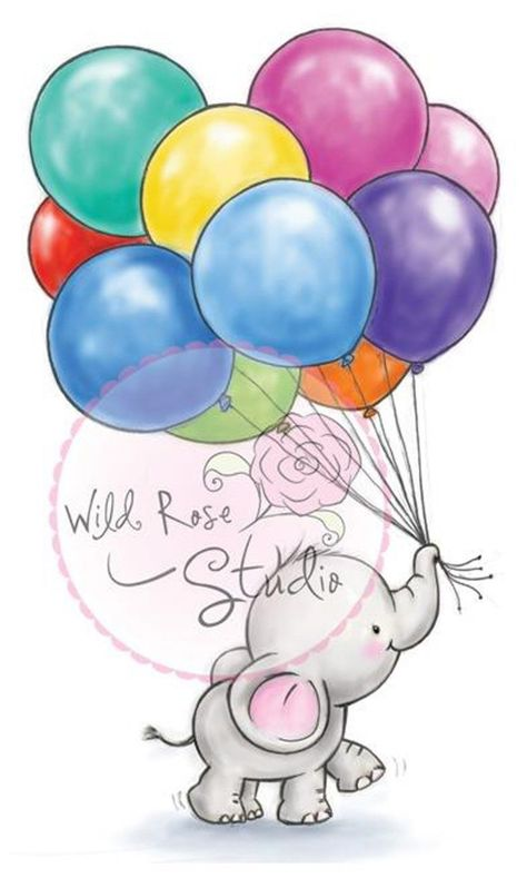 Elephant Bella Balloons Clear Unmounted Rubber Stamp Wild Rose Studio CL453 New 499993748776 | eBay