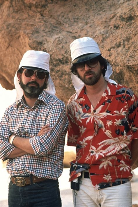 Two wild and crazy guys on Raiders of the Lost Ark.          -  -  -  Lucas and Spielberg.  HOW YOU DOING?
