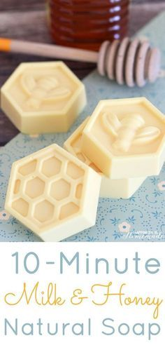 Milk & Honey Natural Soap - This easy DIY Milk and Honey soap can be made in just 10 minutes, and it boasts lots of great skin benefits from the goat's milk and honey! A wonderful quick and easy homemade gift idea! -Happiness Is Homemade Easy Diy Mother's Day Gifts, Easy Homemade Gifts, Diy Mothers Day Gifts, Homemade Soap Recipes, Mother's Day Diy, Homemade Beauty, Diy Soap Easy, Diy Savon, Honey Soap