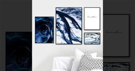 Pas Cher Bleu Marbre Texture Plantes Succulentes Mur Art