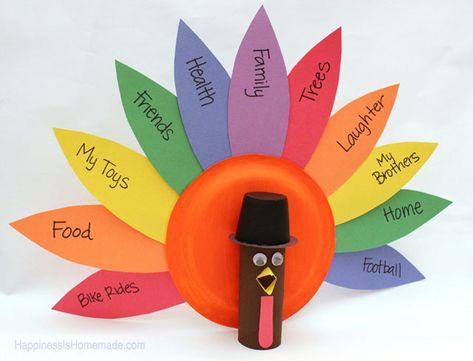 Thanksgiving Kids Craft: TP Roll Gratitude Turkeys - Happiness is Homemade