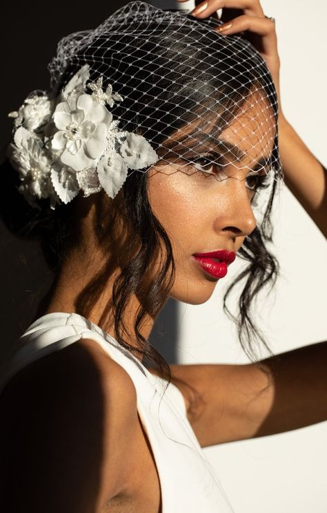 Inspired by cascading blooms and delicate femininity, the Coco Floral Birdcage Veil strikes the unexpected balance between modern styling and playful romance. A chic alternative to flowers in your hair or to incorporate floral detailing into your look. Wedding Hats, Hair Comb Wedding, Wedding Hair And Makeup, Wedding Hair Accessories, Black Wedding Hair, Wedding Veils, Black Brides Hairstyles, Veil Hairstyles, Wedding Hairstyles
