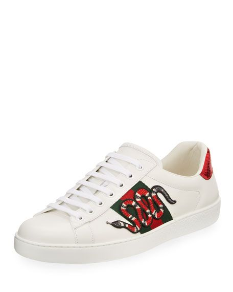 f40a01f88 GUCCI | New Ace Men's Snake Sneakers - White | $670.00 | Gucci leather low-top  sneaker. 1