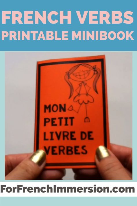 Want your second language students to learn French verbs? Give each of them this foldable verbs minibook so they can practice French verbs conjugation. This FREE printable is a gift for you if you sign up to receive my emails. Click to learn more! #forfrenchimmersion #frenchverbs #frenchimmersion  #corefrench