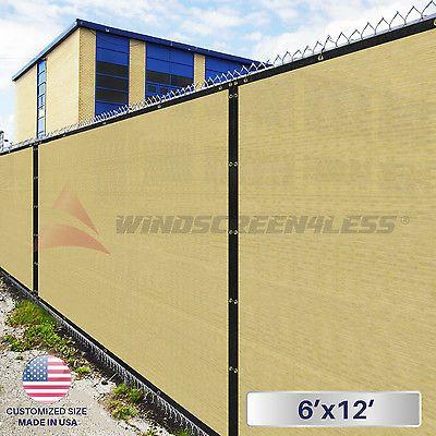 6'x12' Beige/Tan Fence Windscreen Privacy Screen Mesh Fabric
