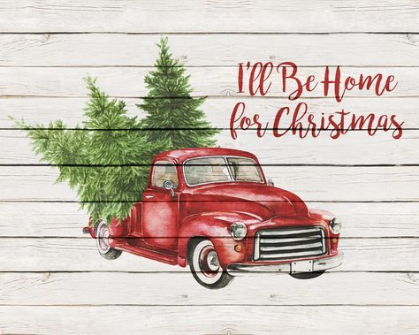 Free Printable Farmhouse Christmas Truck Wall Art The Cottage Market Christmas Red Truck Free Christmas Printables Christmas Truck