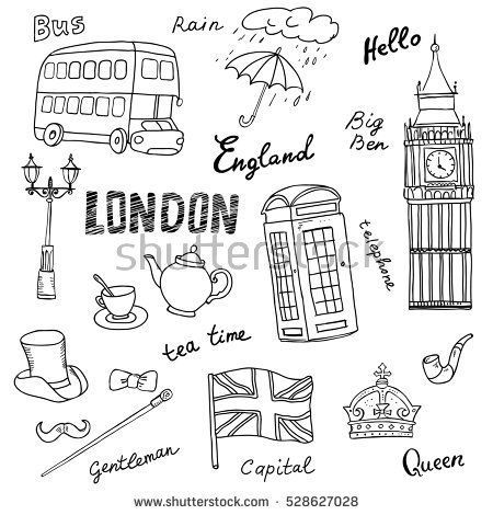 Set of England symbols,landmarks.Black and white sketch.Hand drawn set with crown,Big Ben, red bus,flag,tea pot, vector illustration isolated,words:London,rain, capital,Queen,gentleman,hello,tea time #teapotset Set of England symbols,landmarks.Black and white sketch.Hand drawn set with crown,Big Ben, red bus,flag,tea pot, vector illustration isolated,words:London,rain, capital,Queen,gentleman,hello,tea time