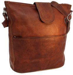 Maola handtas leren tas schoudertas laptop hoes bruin leer