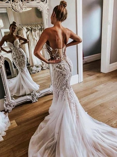 Shiny Beading Rhinestone Applique Tulle Strapless Mermaid Illusion WEDDING GOWNS The marriage dresse