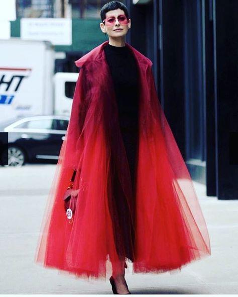 Oscar de la Renta Red over the top Organza Coat - Street style at New York Fashion Week Spring 2019