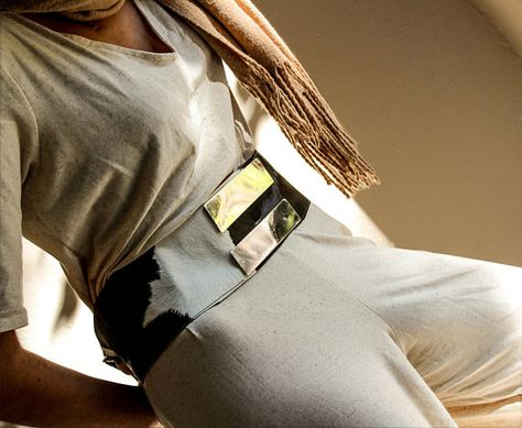 Extravagant waist obi belt in cowhide leather with silver metal