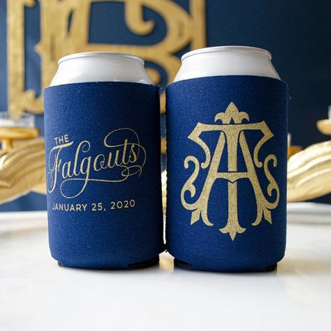 Our can coolers printed with your interlocking vintage monogram are perfect for a wedding reception, couple's shower, or engagement party. These make great favors to enjoy after the event. #WeddingKoozies #WeddingFavors #FallWedding #FallWeddingIdeas #FallWeddingFavors #WeddingMonogram #FallWeddingColors #WeddingColors  #Custom Koozies #PersonalizedKoozies