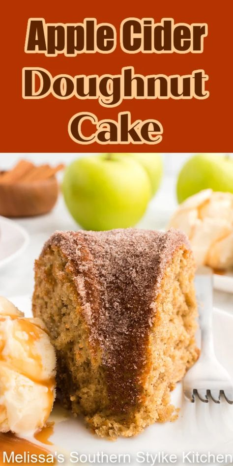 This Apple Cider Doughnut Cake is a delectable fusion of two harvest favorites combining them into one glorious fall treat #applecider #appleciderdoughnut #appleciderdoughnutcake #applecake #applerecipes #fallbaking #appledoughnuts