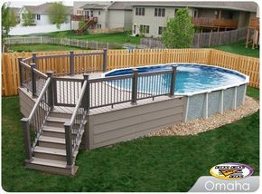 Trex Low Maintenance Material Built Around An Above Ground Pool In 2020 Backyard Pool Landscaping Swimming Pool Landscaping Backyard Pool