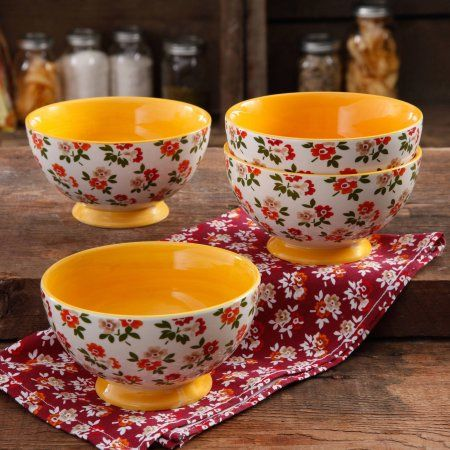 """The Pioneer Woman Fall Flowers 6"""" Footed Bowl, 4-Pack"""