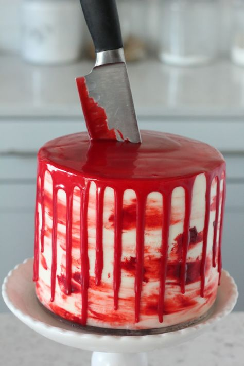 Halloween Bloody Knife Cake (Red Velvet Cake with Almond Cream Cheese Buttercream) - Baking with Blondie
