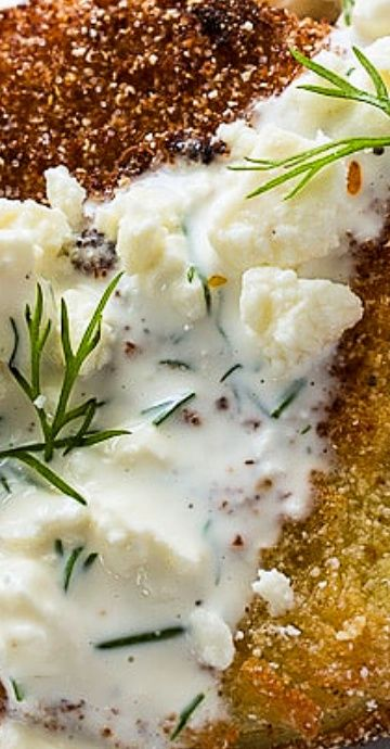 Fried Green Tomatoes With Buttermilk Feta Dressing Spicy Southern Kitchen Recipe In 2020 Feta Comfort Food Southern Green Tomatoes