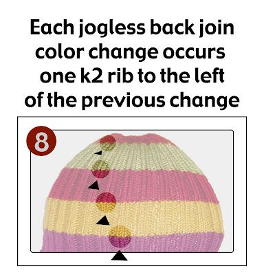 Jogless ribbing STRIPES with a trick to work your ends in as-you-go