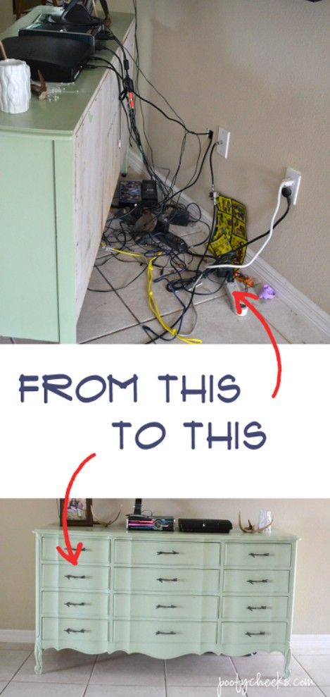 Hide the wires and cables behind the tv or computer crates cord and cable