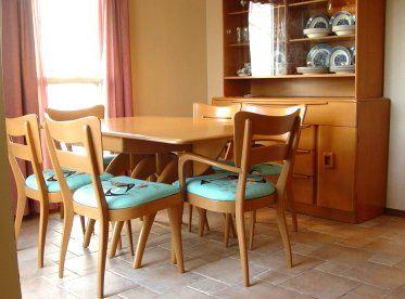 Vintage Heywood Wakefield Dining Room Set, Table, 2 Leaves & 6 ...