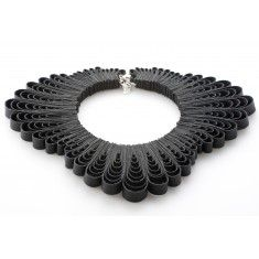 Black Coral Collar Necklace by independent designer Belles Bejewelled Multiple loops of black bounded leather.  Adjustable chain fastening to back of neck to ensure the perfect length/fit.    defined by uniquely sourced materials the ethos behind Belles Bejewelled is to create one of kind limited edition jewellery constructed from vintage and unusual objects. The jewellery is created using traditional craft techniques ...