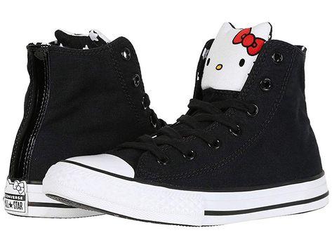 c4b212b3f85d60 Converse Kids Hello Kitty(r) Chuck Taylor(r) All Star(r) Hi (Little Kid)  Girl s Shoes Black Fiery Red White