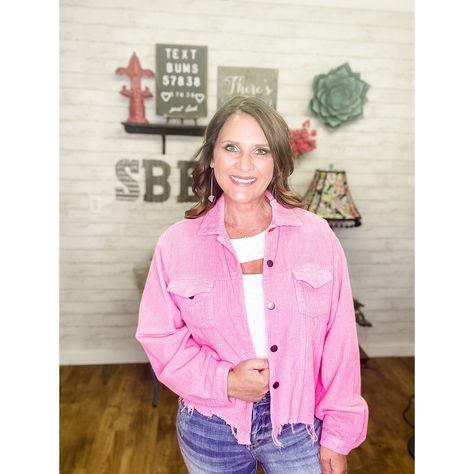 Women's Corduroy Jacket - Medium / Hot Pink